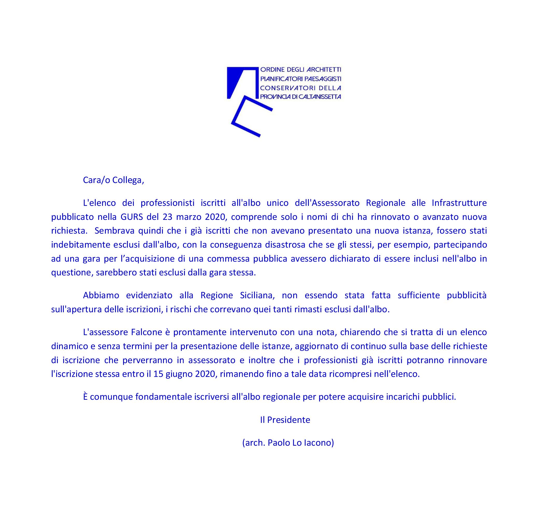 Albo Architetti Messina ordine architetti caltanissetta